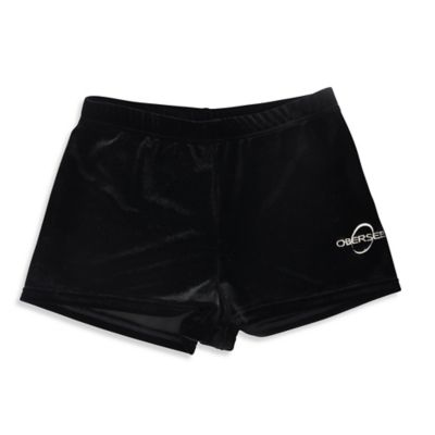 Obersee Size XX-Small Kids Gymnastics Shorts in Black Velvet