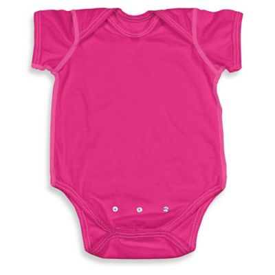 i play. Brights Size 0-3M Organic Cotton Short-Sleeve Adjustable Bodysuit in Fuchsia