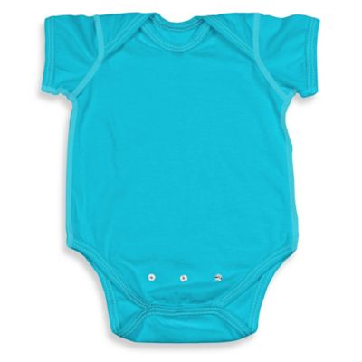 i play. Brights Organic Cotton Short-Sleeve Adjustable Bodysuit in Aqua