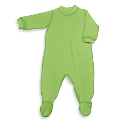 i play.® Brights Size 6-12M Long-Sleeve Knitted Terry Footie in Light Lime
