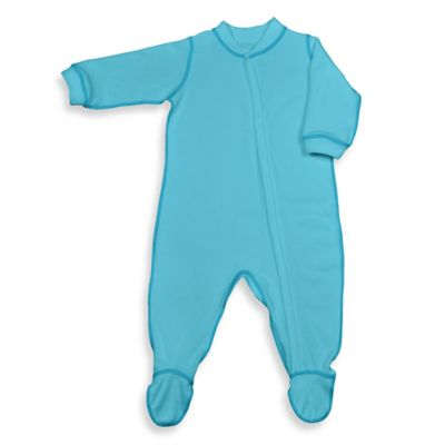 i play.® Brights Size 6-12M Long-Sleeve Knitted Terry Footie in Aqua