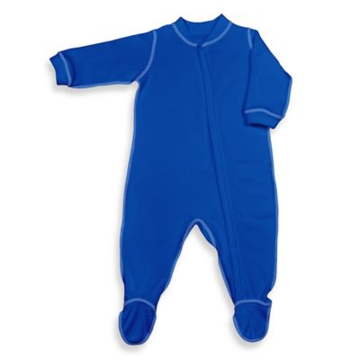 i play.® Brights Size 6-12M Long-Sleeve Knitted Terry Footie in Royal Blue