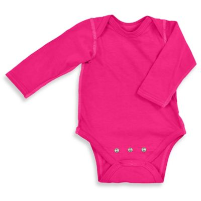 i play.® Size 18-24M Brights Organic Cotton Long-Sleeve Adjustable Bodysuit in Fuchsia