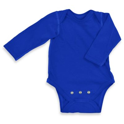 i play.® Size 18-24 Brights Organic Cotton Long-Sleeve Adjustable Bodysuit in Royal Blue