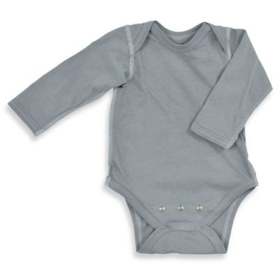 i play.® Brights Size 3-6M Organic Cotton Long-Sleeve Adjustable Bodysuit in Grey