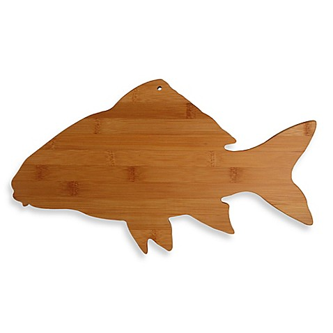 Totally bamboo fish shaped cutting board bed bath beyond for Fish cutting board