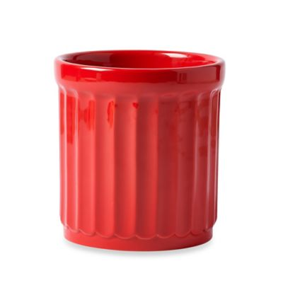 Ribbed Ceramic Utensil Crock in Red