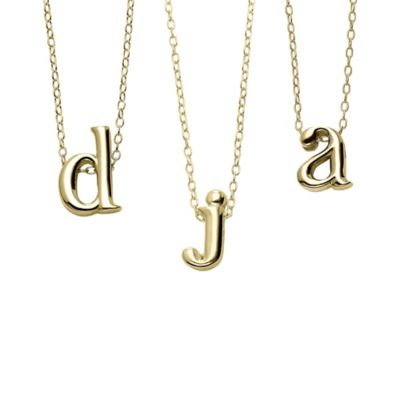 "18K Yellow Gold-Plated 18-Inch Chain Lower Case Letter ""a"" Pendant Necklace"