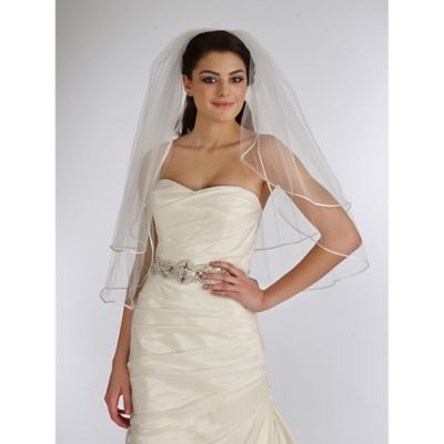 Waist-Length 2-Layer Satin Corded Edge Bridal Veil in Ivory