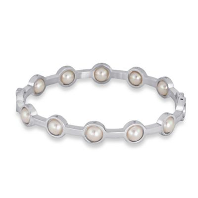 Majorica Silvertone Stainless Steel Simulated Pearl Scalloped Bangle Bracelet