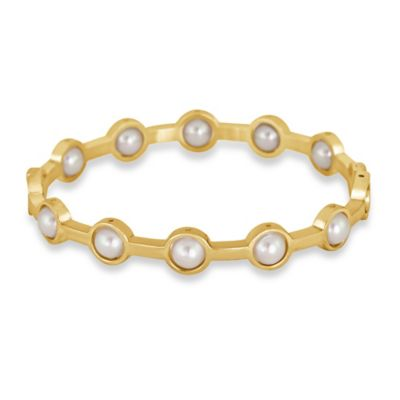 Majorica Goldtone Stainless Steel Simulated Pearl Scalloped Bangle Bracelet