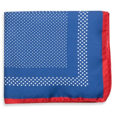 Silk Dotted Pocket Square in Blue with Red Trim