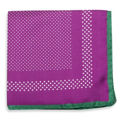 Silk Dotted Pocket Square in Purple with Green Trim