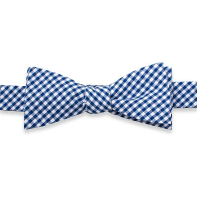 Cotton Gingham Self-Tie Bowtie in Blue