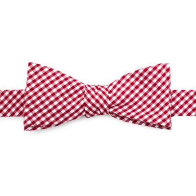 Cotton Gingham Bow Tie in Red/White
