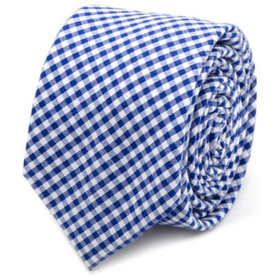 Cotton Gingham Skinny Tie in Blue