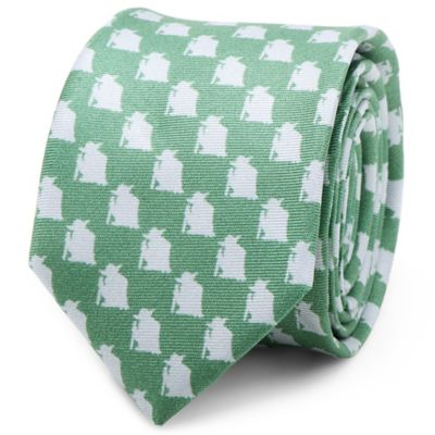 Star Wars™ Silk Yoda Skinny Tie in Green/Grey