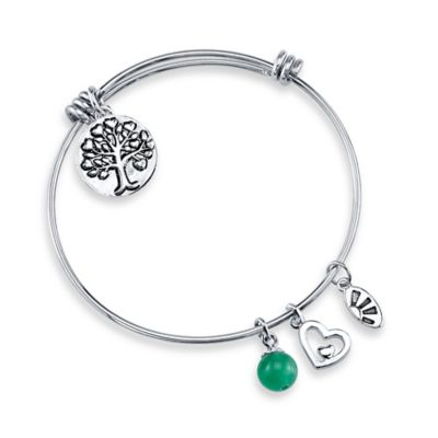 "Shine Silvertone ""Family, A Circle of Strength, Love"" Charm Bangle"