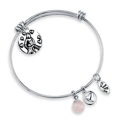 """Shine Silvertone """"A Mother Holds Her Child"""" Charm Bangle"""