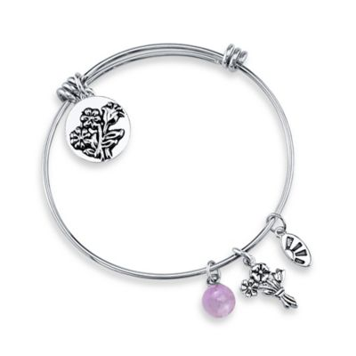 "Shine Silvertone ""If Daughters Were Flowers, I'd Pick You"" Charm Bangle"