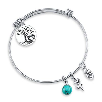 "Shine Silvertone ""Where There Is Love, There Is Life"" Charm Bangle"