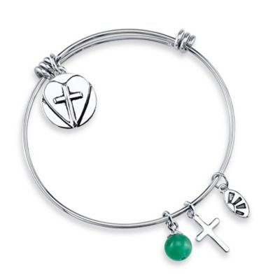 "Shine Silvertone ""Faith, Hope, Love"" Charm Bangle"