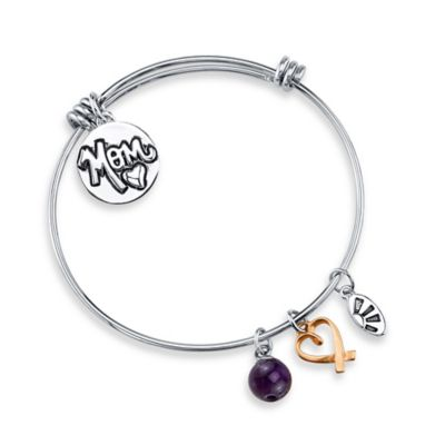 "Shine Silvertone ""Mom Always on My Mind, Forever in My Heart"" Charm Bangle"