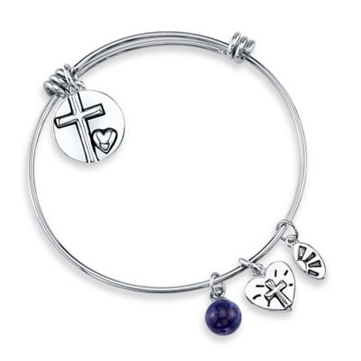 "Silvertone ""He Is Love"" Charm Bangle"