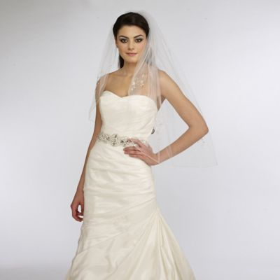 Fingertip-Length One-Layer Beaded Crystal Applique Bridal Veil in Ivory