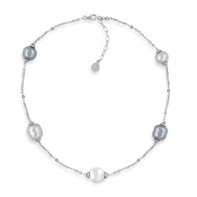 Majorica Plated Sterling Silver Simulated Baroque, Round, and Coin Pearl 18-Inch Illusion Necklace