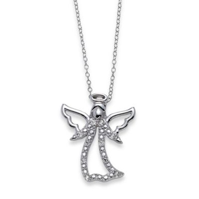 Sterling Silver .10 cttw Diamond 18-Inch Chain Angel Pendant Necklace