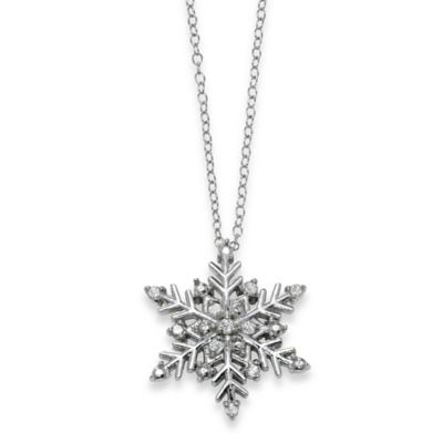 Sterling Silver .10 cttw Diamond 18-Inch Chain Snowflake Pendant Necklace