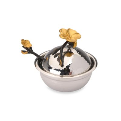 Classic Touch Hammered Stainless Steel Honey Dish
