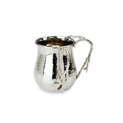 Classic Touch Hammered Stainless Steel Wash Cup