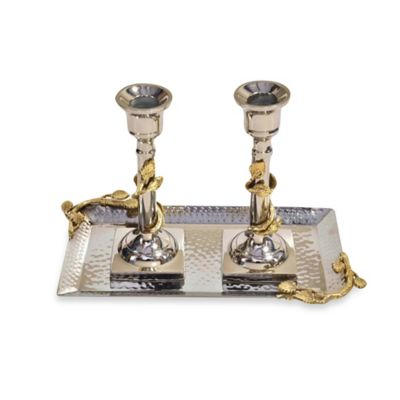 Classic Touch Hammered Stainless Steel Candlestick Set