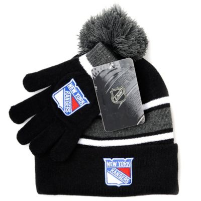 NHL New York Rangers Men's Hat & Gloves Set