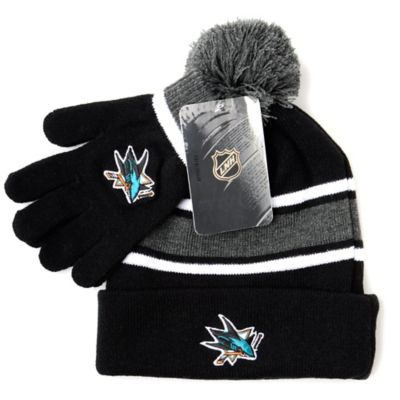 NHL San Jose Sharks Men's Hat & Gloves Set