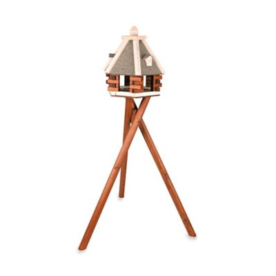 Trixie Nordic Wooden Bird Feeder & Stand in Brown/White