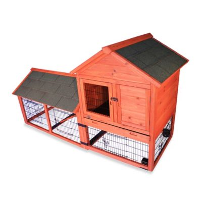 Trixie Natura Wheeled Two-Story Small Animal Hutch in Brown with Outdoor Run
