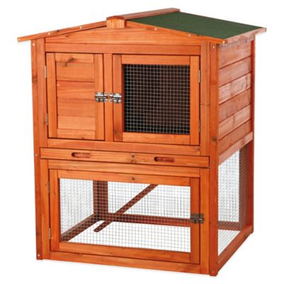 Trixie Natura Small Peaked Roof Two-Story Small Animal Hutch in Brown
