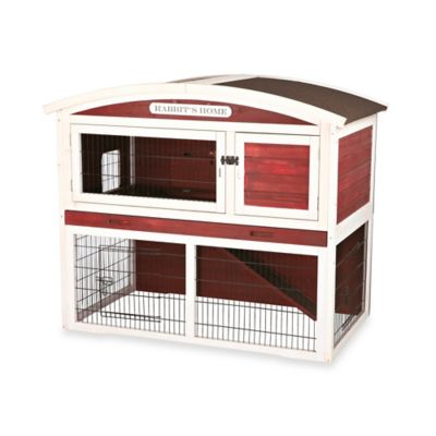 Trixie Natura Two-Story Small Animal Hutch in Red/White with Outdoor Run