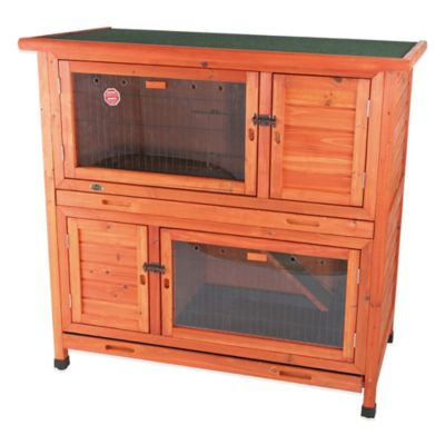 Trixie Natura 2-in-1 Insulated Flat Roof Small Animal Hutch in Browne