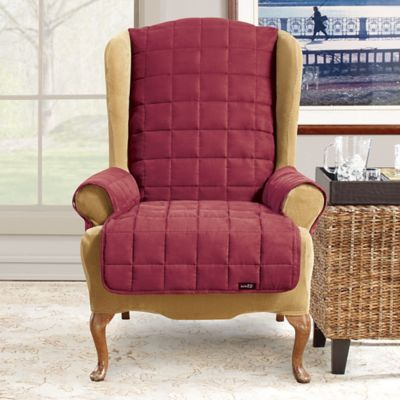 Sure Fit® Waterproof Wing Chair Slipcover in Chocolate