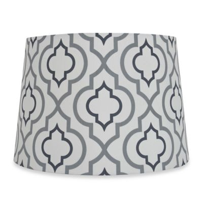 Mix & Match Medium 13-Inch Two-Tone Screen Printed Lamp Shade in Silver/White