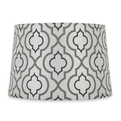 Mix & Match Small 9-Inch Two-Tone Screen Printed Lamp Shade in Silver/White
