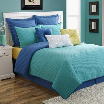 Fiesta® Dash Pic Stitch Full/Queen Quilt Set in Turquoise