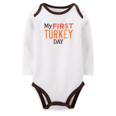 Carter's® Size 6M My First Turkey Day Bodysuit in White