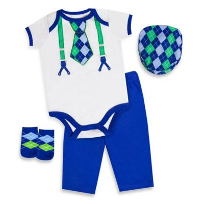 AD Sutton Baby Essentials 4-Piece Argyle Layette Set in Blue/White/Green