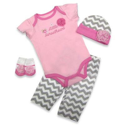 "AD Sutton Baby Essentials 4-Piece ""Little Sweetheart"" Layette Set"