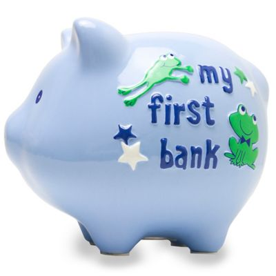 "AD Sutton ""My First Bank"" Piggy Bank in Blue"